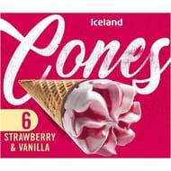 Iceland 6 Strawberry & Vanilla Cones 372g