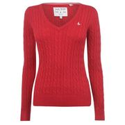 Women's Jack Wills Cable v Neck Jumper Red or Grey