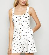 White Spot Button Front Playsuit Only £13.49