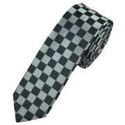 Silver & Grey Checked Skinny Tie - Save £5