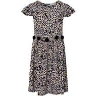 ROSE and WILDE Piper Animal Print Pom Pom Dress