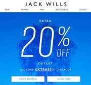 JACK WILLS - Grab an EXTRA 20% off JACK WILLS OUTLET SHOPPING