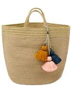 Jute Storage Basket with Coloured Tassels