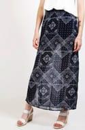 Cheap Split Sides Navy Chiffon Maxi Skirt Only £2.5