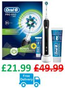 Oral-B Pro 650 Cross Action Electric Toothbrush ***4.6 STARS*** BLACK or PINK