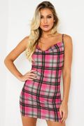 Pink Tartan Cowl Front Bodycon Dress - Only £3!