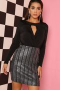 Black & Silver Cross Front Bandage Bodycon Dress - Only £3!