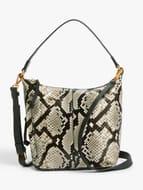 John Lewis AND/OR Compact Zip Top Leather Hobo Bag, Mono