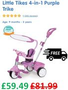 Little Tikes 4-in-1 Purple Trike (EXTRA 15% off TODAY!) save £22.50