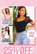 25% off ALL Tops to Pink Boutique