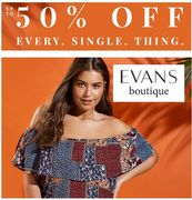50% OFF PLUS SIZE FASHION at Evans Boutique (Free Delivery Over £30)