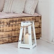 Best Price! Bath White Wooden Battery Lantern