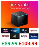 SAVE £20. Fire TV Cube Hands Free with Alexa, Streaming Media Player