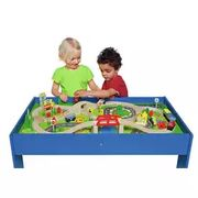 Chad Valley Wooden Table and 90 Piece Train Set Click & Collect