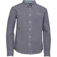 Ben Sherman Boys Classic Gingham Long Sleeve Shirt Navy Blazer