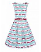 Betty 1950s Floral Stripe Dress Down From £45 to £31.5