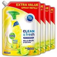 Dettol Refill Multipurpose Cleaning Spray Lemon, Pack of 4 X 1.2 Litres