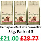 SAVE £7.77 + FREE DELIVERY - Harringtons Beef with Brown Rice Dry Mix, 3 X 5kg