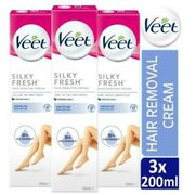 3 X Veet Silk & Fresh Hair Removal Cream 200ml for Sensitive Skin with Aloe Vera