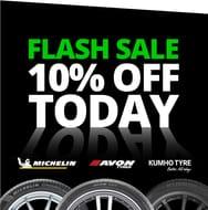 Enjoy 10% off Tyres