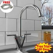 CHEAP! Kitchen Sink Mixer Taps Chrome Monobloc Basin Twin Lever Tap Swivel 360