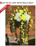 "Large Handmade Artificial Hanging Basket 12""+ 16"" Spread Of Flowers Drop 30"""