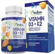 100% Vegan and Vegetarian - Vitamin D & K2 Combo - 120 Capsules - Made in UK