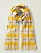 Boden Wool Scarf - Saffron/Oatmeal Check 60% OFF