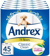 Andrex Classic Clean Toilet Rolls - 45 Rolls + FREE PRIME DELIVERY