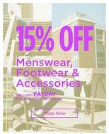 15% off Clothing, Footwear & Accessories - Minimum Spend £50