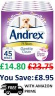 ANDREX PRICE DROP! 45 Andrex Gentle Clean Toilet Rolls
