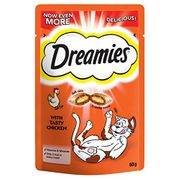 Dreamies Cat Treats, Tasty Snacks with Tempting Chicken, 8 Pouches of 60 G