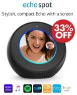 SAVE £40 - Amazon Echo Spot, Smart Alarm Clock with Alexa (Black or White)