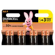 Duracell plus Power AA Alkaline Batteries - Pack of 8 (5 + 3 Free)
