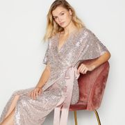 No. 1 Jenny Packham-Pale Pink Sequin 'Libby' Maxi Wrap Dress