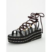 V by Very Dee Strappy Lace Wedge Sandals - Black