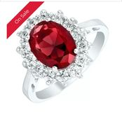 Sterling Silver Red Glass & Cubic Zirconia Cluster Ring