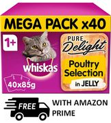 Whiskas Pure Delight - Poultry Selection in Jelly, 40 PACK (FREE PRIME DELIVERY)