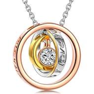 Necklace, Trinity, Three Rings Pendant, Crystal from Swarovski
