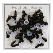 Safety Eyes - Mix Pack - Black - 25 Pairs