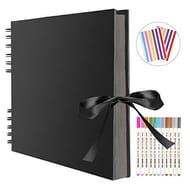 FUNVCE Scrapbook Photo Album 80 Black Pages Memory Books