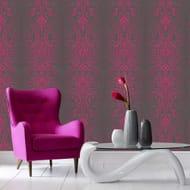 Superfresco - Black and Pink Glamour Damask Glitter Wallpaper