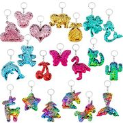 20 Pieces Flip Sequin Keychain - Different Designs