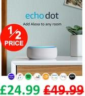 AMAZON Echo Dot - HALF PRICE - FREE DELIVERY / CLICK & COLLECT