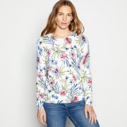 Maine New England - off White Watercolour Flower Print Jumper