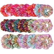 24 PCS Shiny Metallic Hair Scrunchies Elastic Scrunchy Bobble Silk