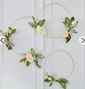 Ginger Ray Gold Floral Hanging Hoops 3 Pack