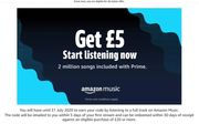 Free £5 Amazon Voucher - Stream a Song on Amazon - Eligible Prime Accounts