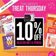 Treat Thursday! 10% off on Selected Diet & Fitness Superdrug