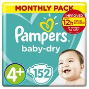 Pampers Baby-Dry Size 4+, 152 Nappies, 10-15 Kg at Amazon